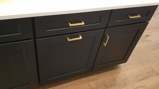 Night Watch Green cabinet with champagne handles