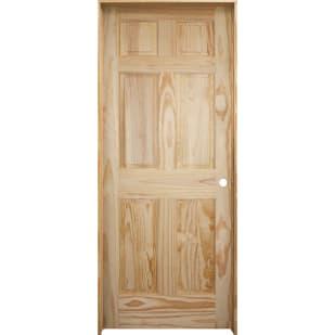 4528615 30 x 80 6 Panel Clear Pine Interior Door Slab  Left Hand