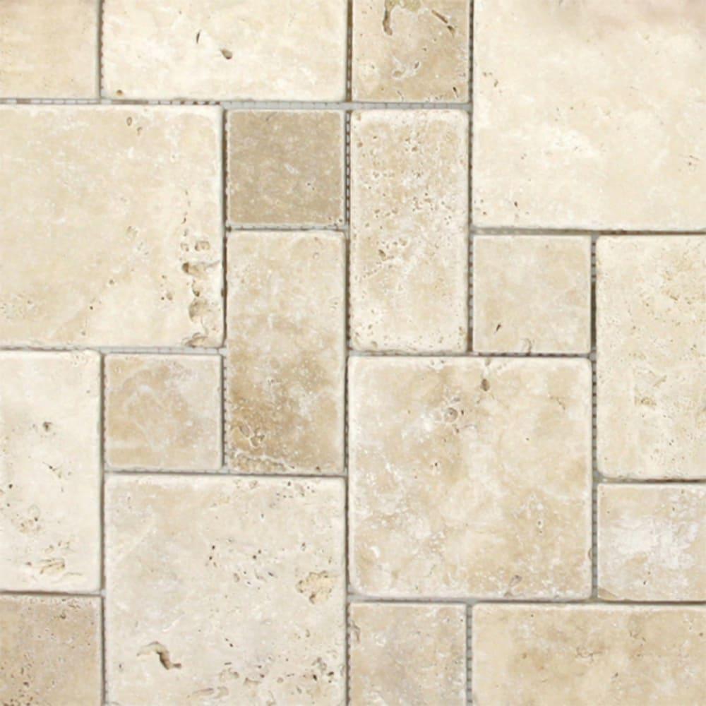 "Mosaic 12""x12"" Roman Pattern Ivory Travertine Tile"