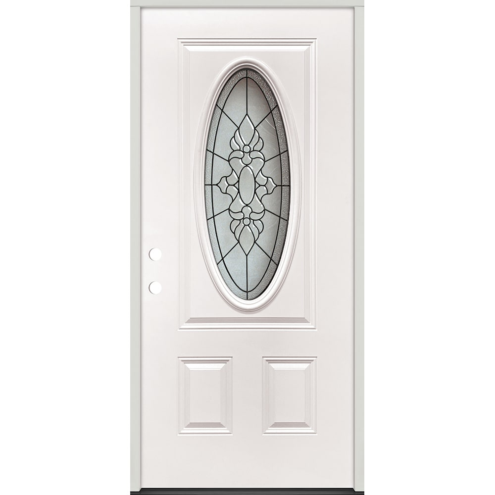 45320051 36 Oval Glass Prehung Exterior Steel Door Unit  Right Hand