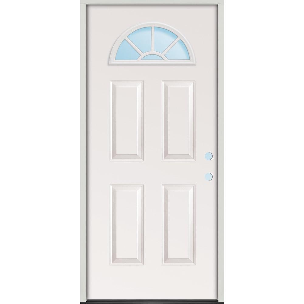 45320076 32 Fan Lite Prehung Exterior Steel Door Unit  Left Hand