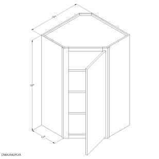 "Unfinished Oak 24""x42"" Diagonal Wall Cabinet"