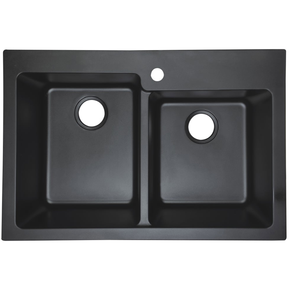 Dual Mount Granite Composite Kitchen Sink, 60/40, Black | SKU ... on 24 x 16 sink, hammered copper farmhouse sink, cast iron undermount double sink, copper bowl sink, 24 bathroom vanity with sink, 70 30 undermount stainless steel sink,