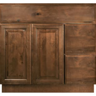 """Mocha Distressed 36"""" Vanity Base With Drawers on Right"""