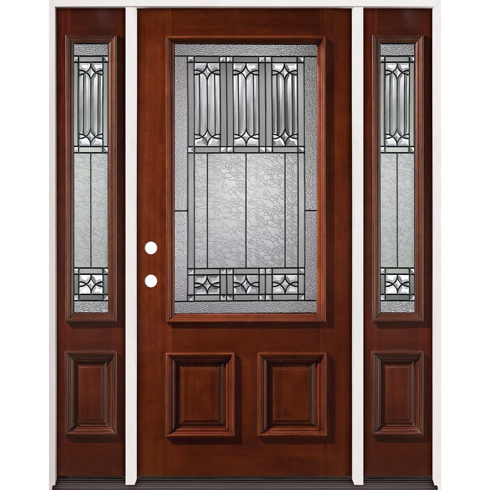 4526305 PREFINISHED MAHOGANY GLASS BLACK CAMING W SIDES RIGHT HAND