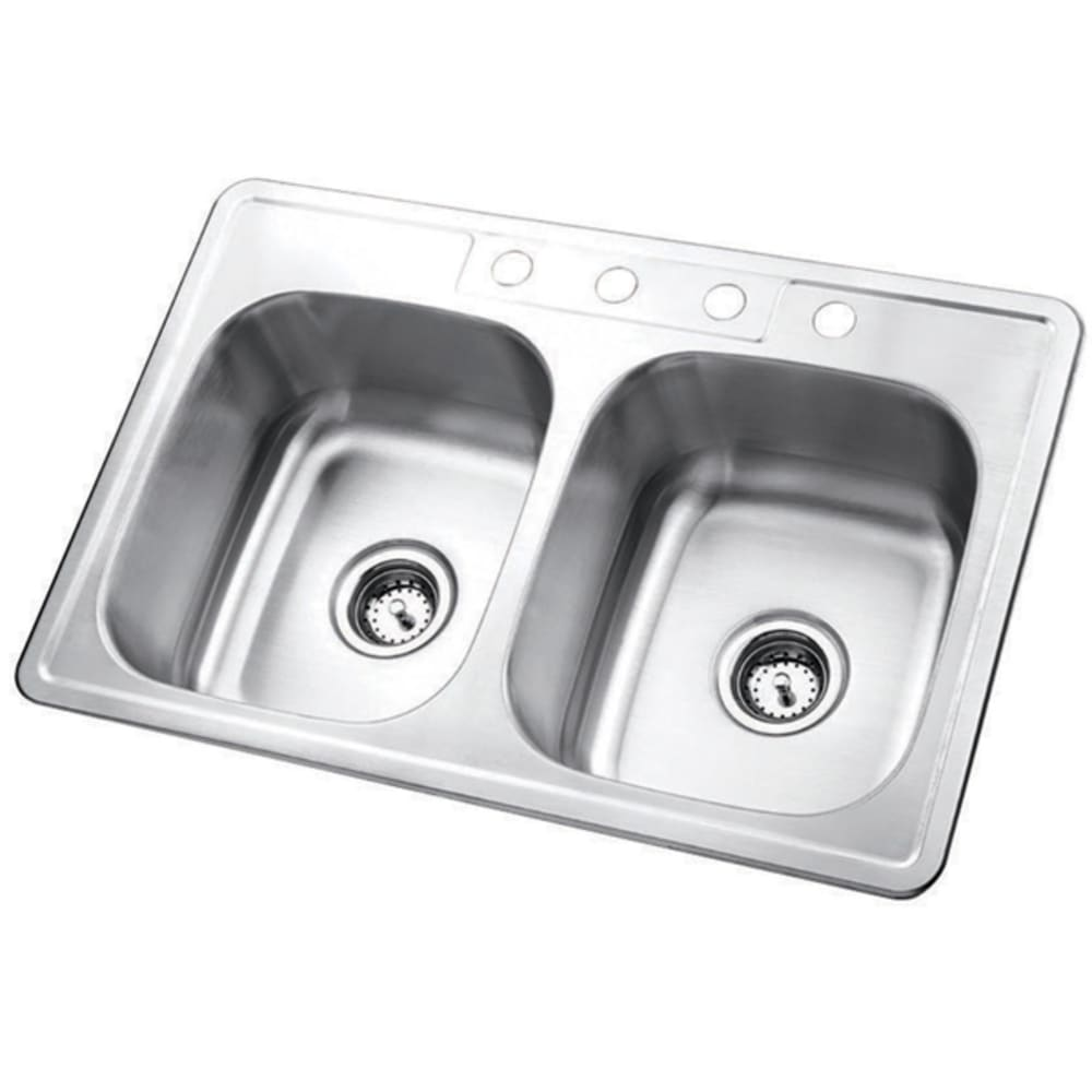 """33X22 6"""" Deep Double Bowl Top Mount Satin Stainless Sink"""