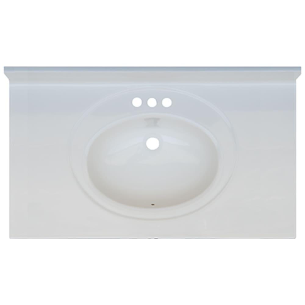 5020694 Solid White 37x22 Engineered Stone Vanity Top