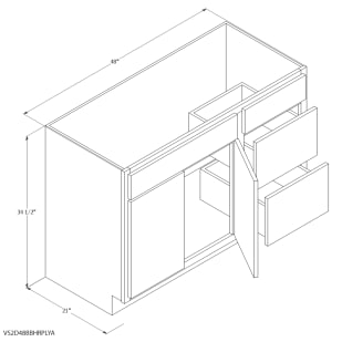 "Unfinished Oak 48""x21"" Vanity Cabinet with Right Drawers"