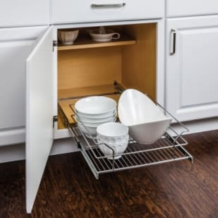 5049054 Polished Chrome Pullout Basket for 18 Cabinet Opening