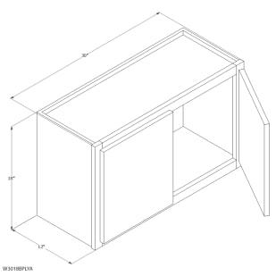 "Unfinished Oak 30""x18"" Wall Cabinet"
