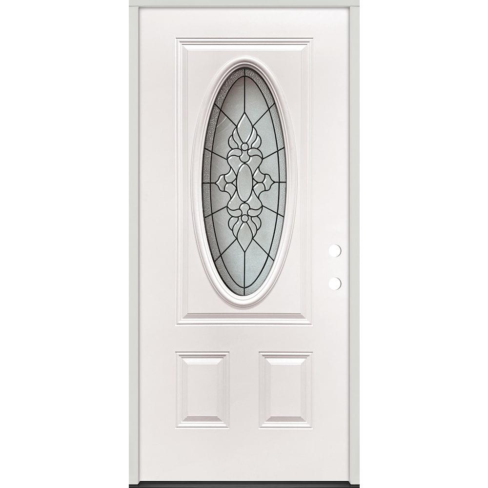 45320049 36 Oval Glass Prehung Exterior Steel Door Unit  Left Hand