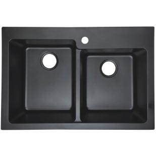 Black Dual Mount Granite Composite Kitchen Sink, 60/40