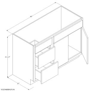 """Unfinished Oak 48""""x21"""" Vanity Cabinet with Left Drawers"""