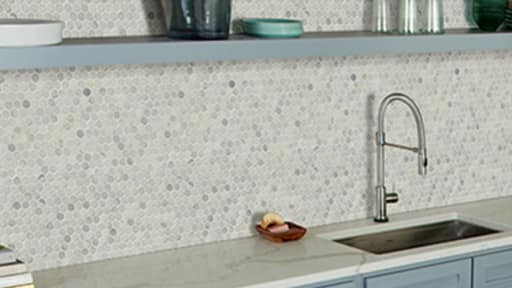 Hexagon tile backsplash in kitchen