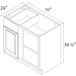 """Unfinished Oak 36"""" Blind Base Cabinet Right Hand"""