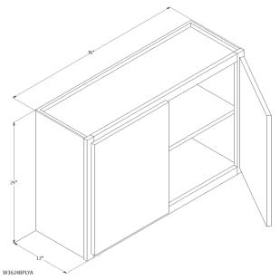 "Unfinished Oak 36""x24"" Wall Cabinet"