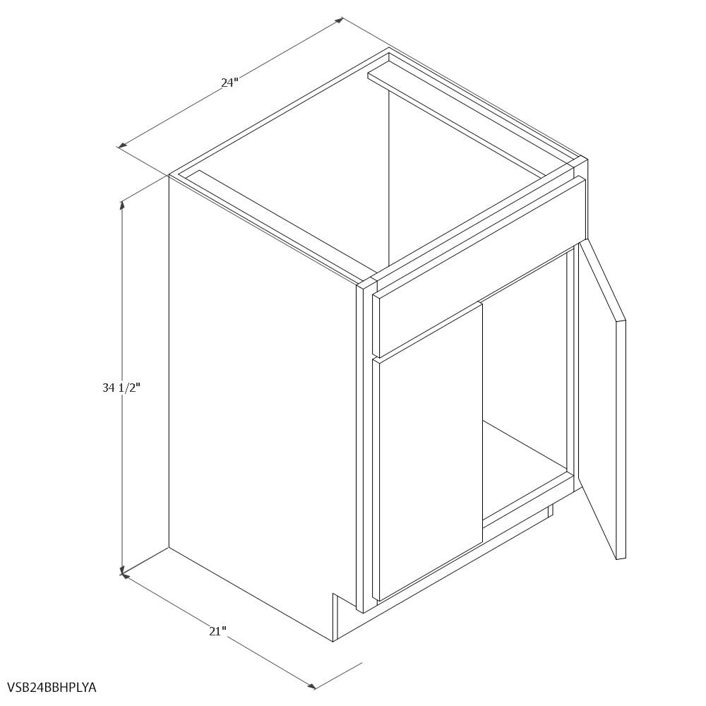 Unfinished Oak 24 Vanity Sink Cabinet Butt Door Base Height Sku