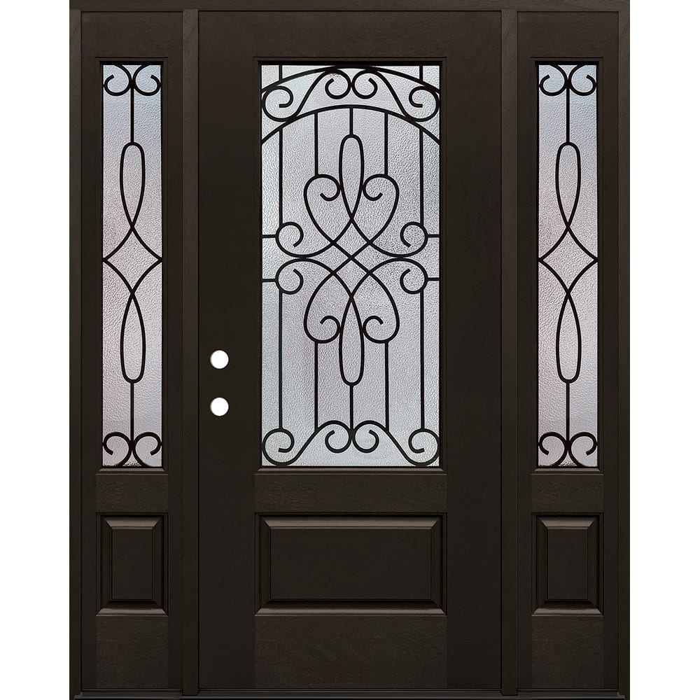 4533154 60 FIBERGLASS IRON GRILLES DOOR UNIT W SIDELIGHTS  RIGHT HAND