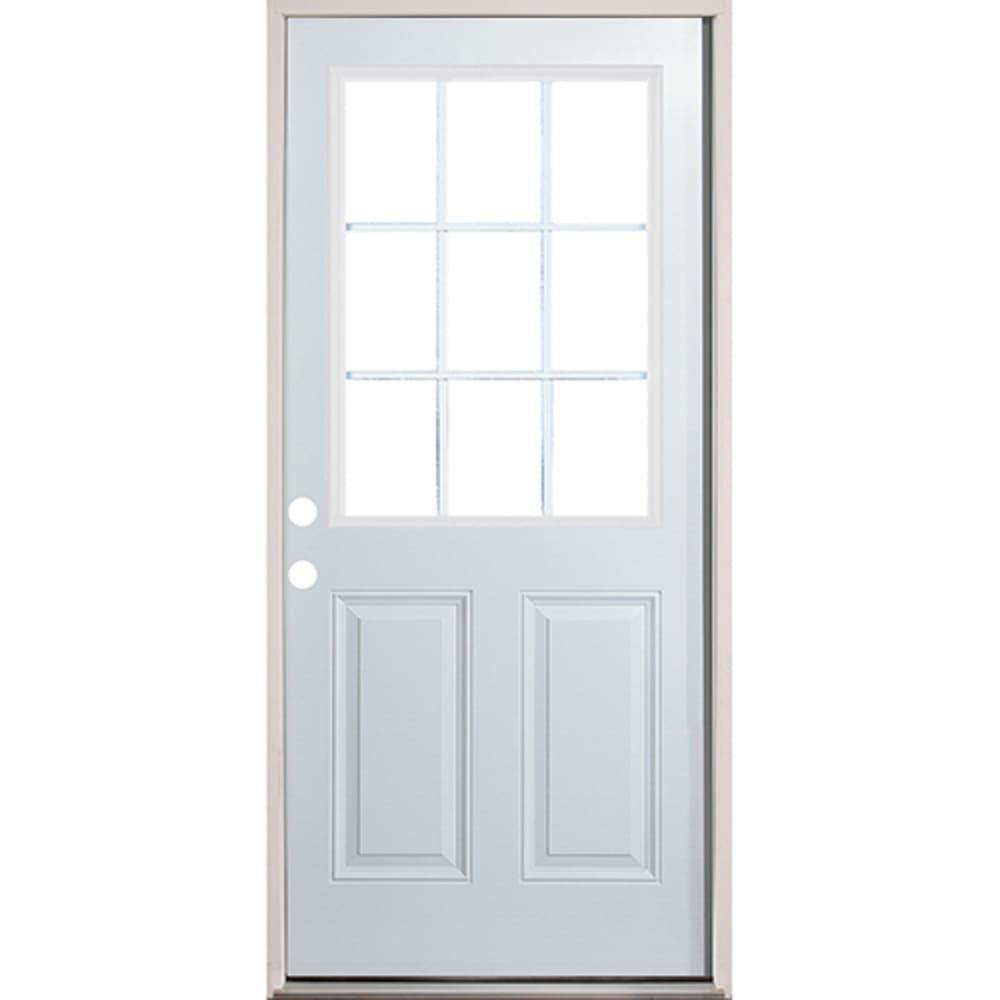 45320137 36 9 Lite Prehung Exterior Fiberglass Door Unit  Right Hand
