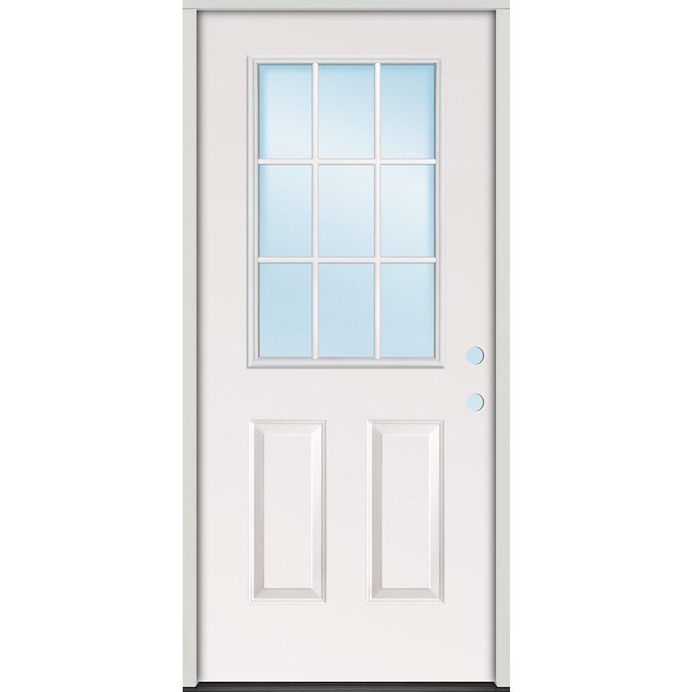 45320072 32 9 Lite Prehung Exterior Steel Door Unit  Left Hand