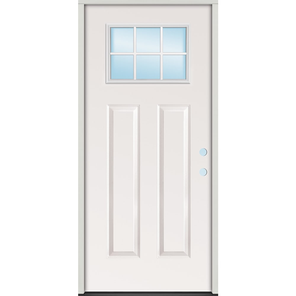 4532372 32 Steel 6 Lite Craftsman Door Unit  Left Hand