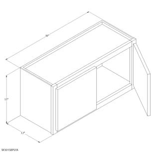 "Unfinished Oak 30""x15"" Wall Cabinet"