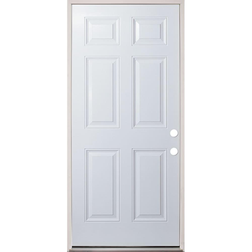 45320130 32 Raised Panel Prehung Exterior Fiberglass Door Unit Left Hand
