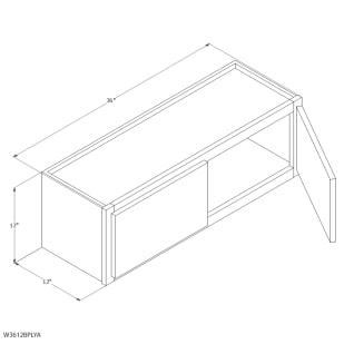 "Unfinished Oak 36""x12"" Wall Cabinet"