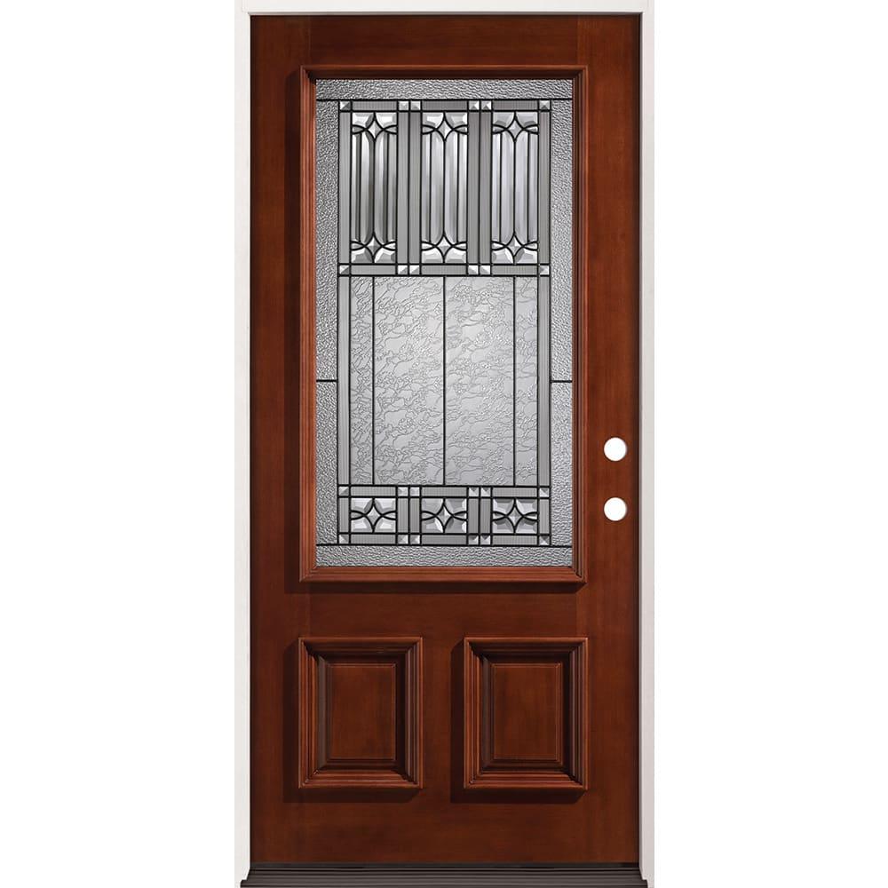 4526306 36 Prefinished  Mahogany Prehung Exterior Door Unit  Left Hand