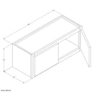 "Unfinished Oak 30""x12"" Wall Cabinet"