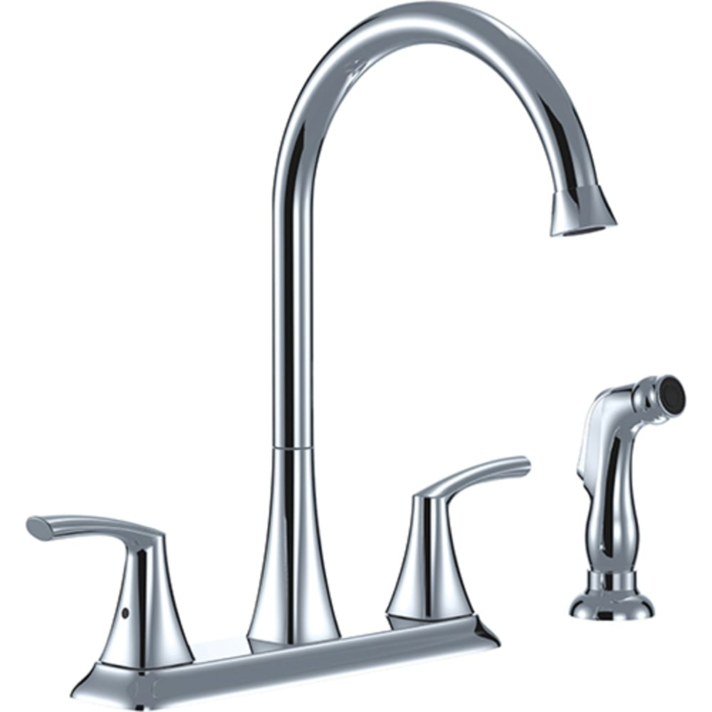 8021069 Chrome Two Handle Goose Neck Kitchen Faucet w  Spray