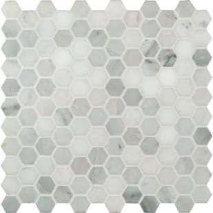 """Mosaic 12""""x12"""" Arabescato Carrara 1"""" Hexagon Tiles"""