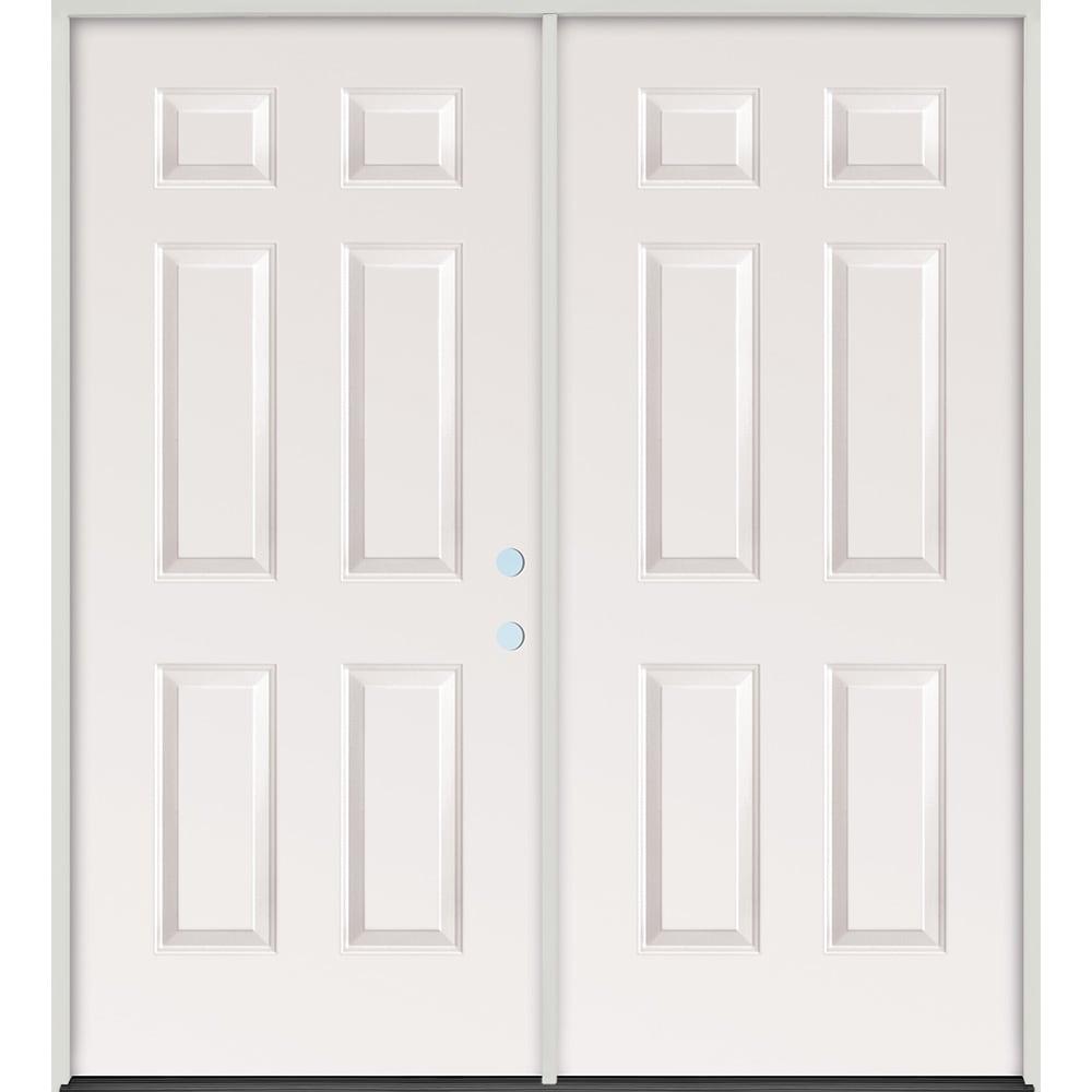 45320070 72 Raised Panel Steel Prehung Exterior Double Door Unit  Left Hand