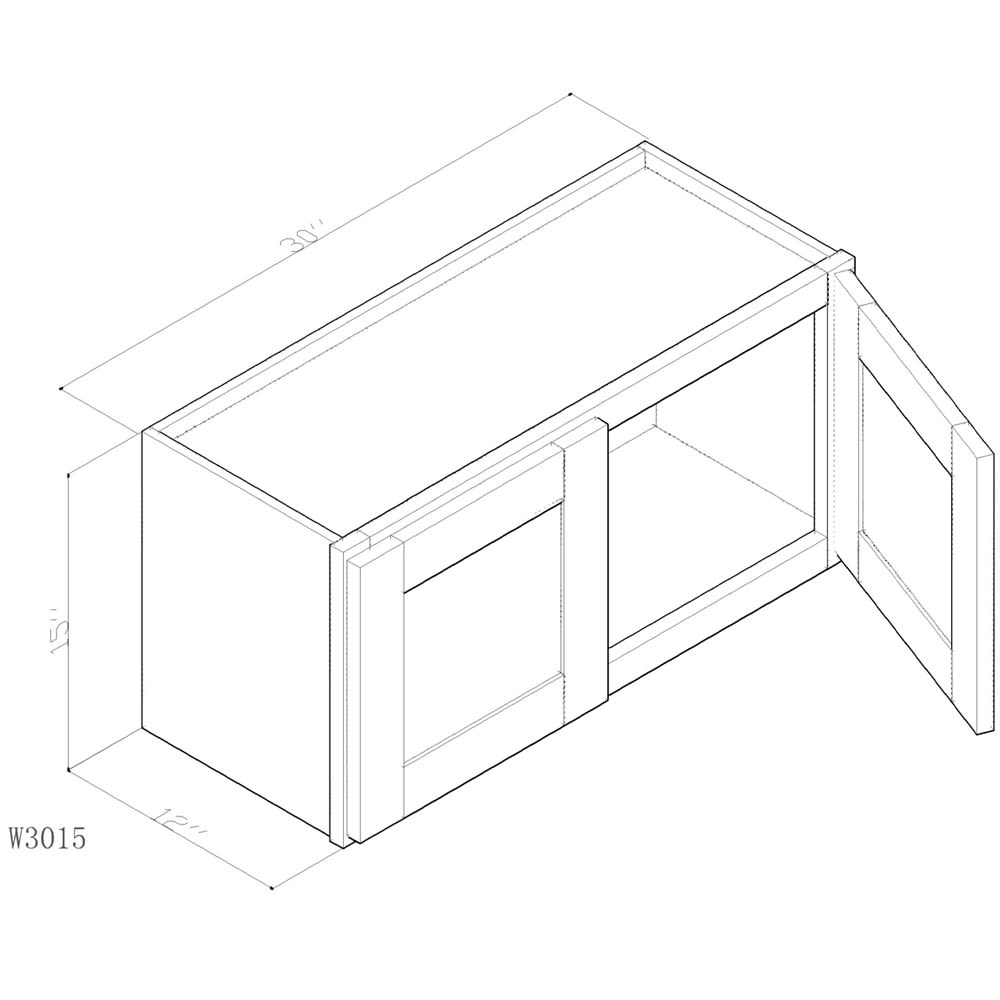"""GHI Arcadia Linen White 30"""" x 15"""" Wall Cabinet 