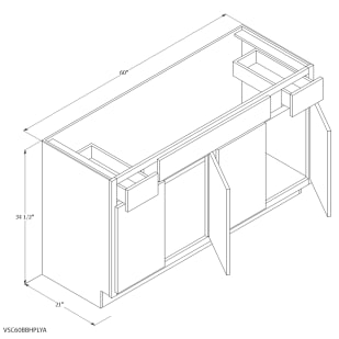 """Unfinished Oak 60""""x21"""" Vanity Cabinet with Drawers"""