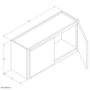 "Unfinished Oak 36""x18"" Wall Cabinet"