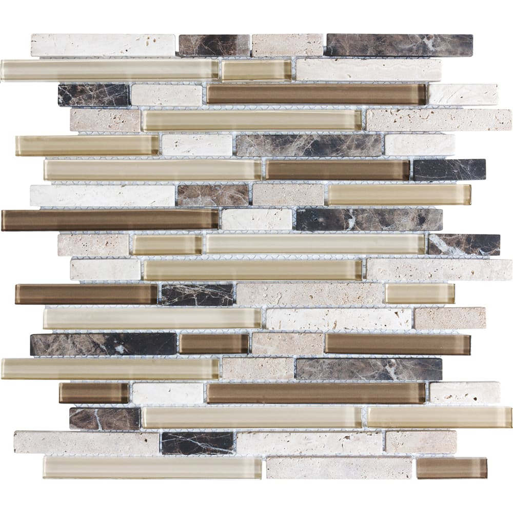 "Mosaic 12""x12"" 5/8"" Cappuccino Glass/Travertine Linear Tile"