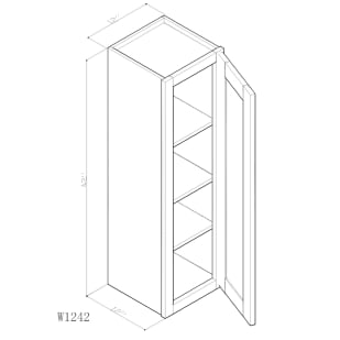 "GHI Arcadia White Shaker 12"" x 42"" Wall Cabinet Drawing"