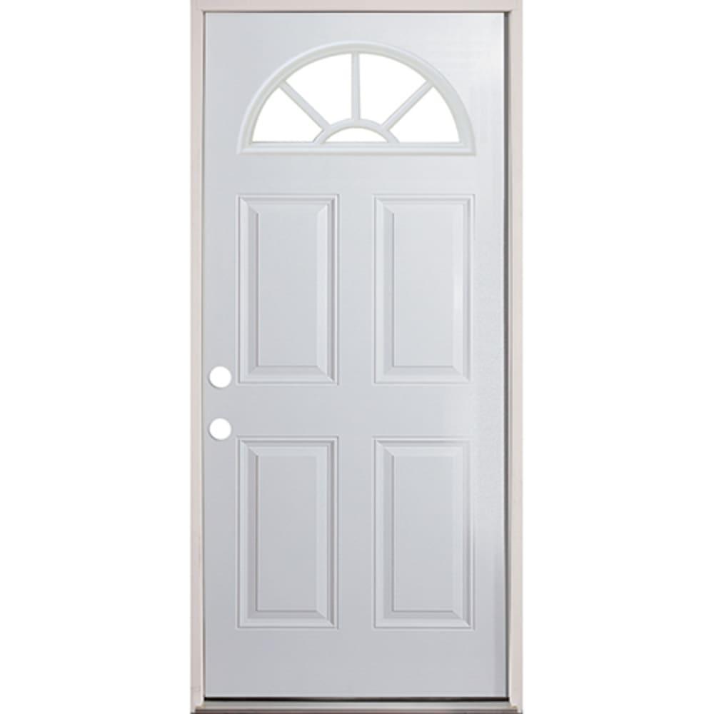 45320079 36 Fan Lite Prehung Exterior Steel Door Unit  Right Hand