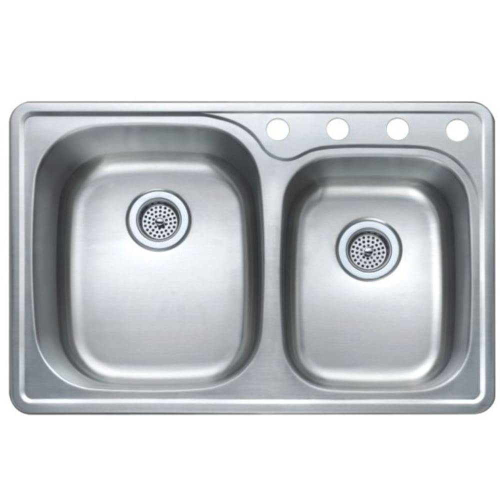"""33X22 9/7.5"""" Double Bowl Offset Satin Stainless Sink"""