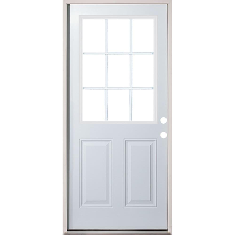 4532258 36 9 Lite Prehung Exterior Fiberglass Door Unit  Left Hand