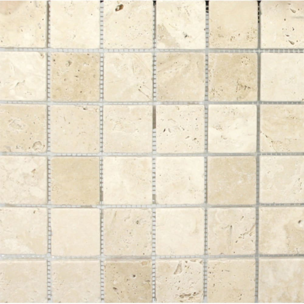 "Mosaic 12""x12"" White/Ivory Travertine Tile"