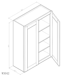 "GHI Arcadia White Shaker 30"" x 42"" Wall Cabinet Drawing"