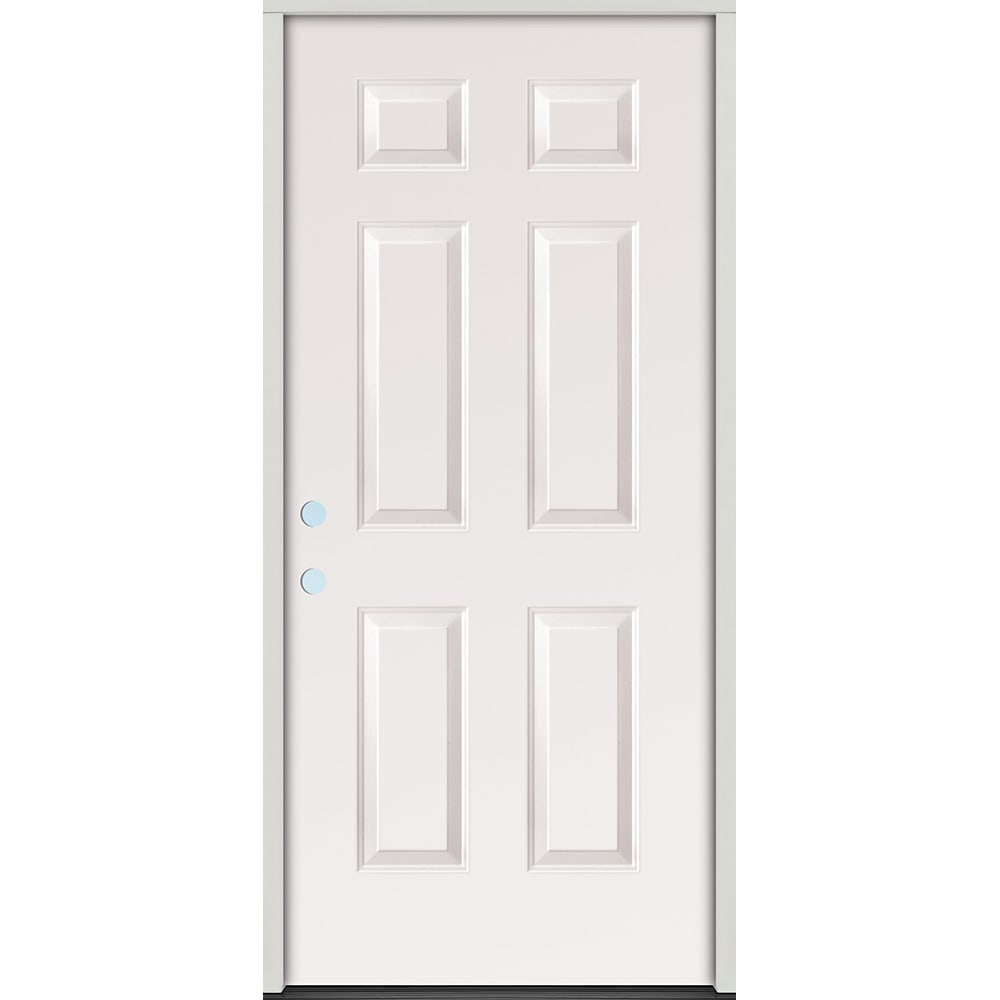 45320067 36 Raised Panel Prehung Exterior Steel Door Unit  Right Hand