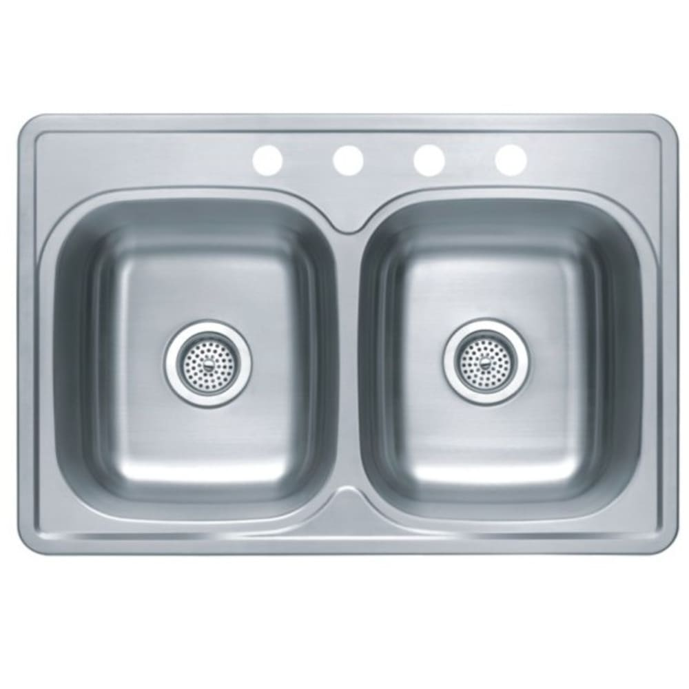 "33x22 8"" Deep Double Bowl Satin Stainless Steel Sink"