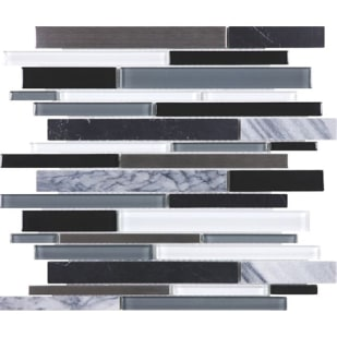 5536600 Cool Carbon Random Strip Mosiac Tile