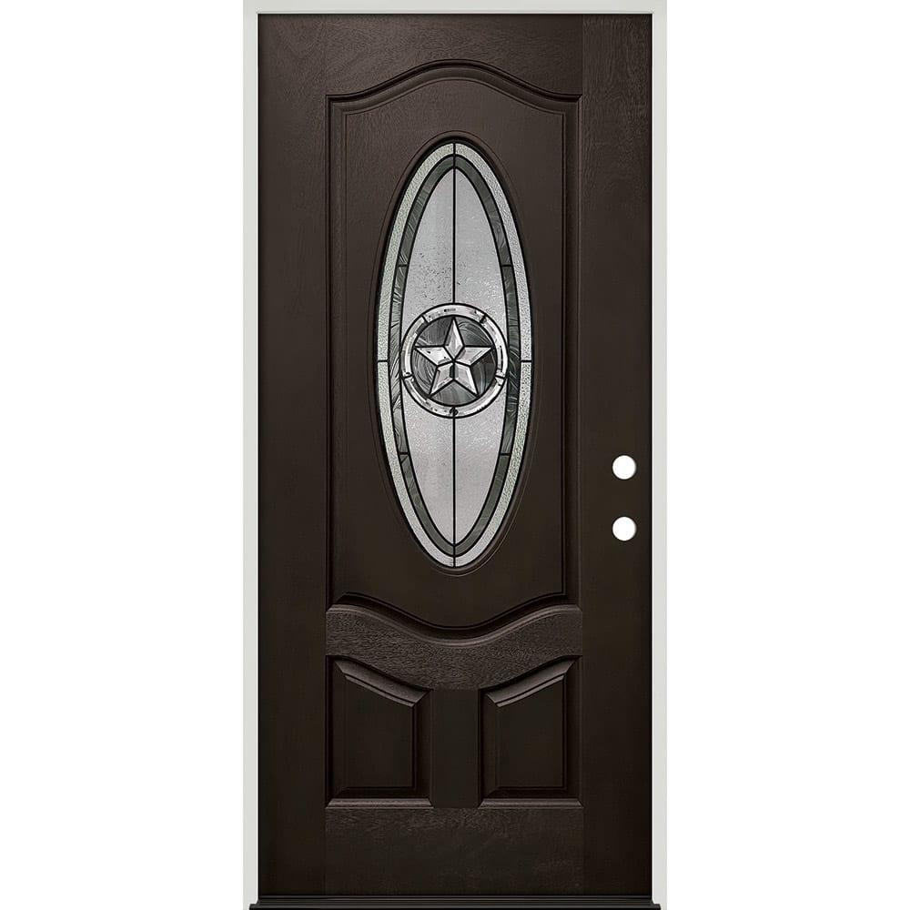 45320039 36 Prefinished  Prehung Fiberglass Exterior Door Unit  Left Hand
