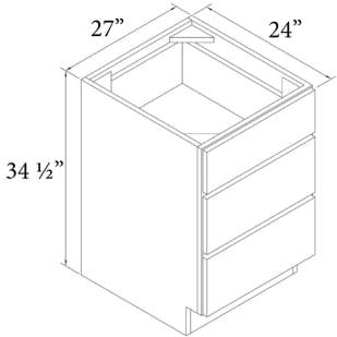 """Unfinished Oak 27"""" 3-Drawer Base Cabinet"""