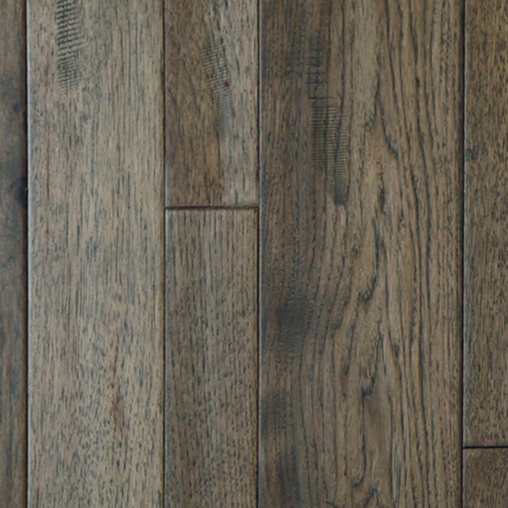 Dark Grey Hickory Mixed Width Solid Hardwood Flooring