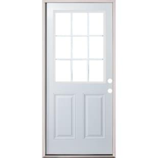 4532291 32 9 Lite Prehung Exterior Fiberglass Door Unit  Left Hand